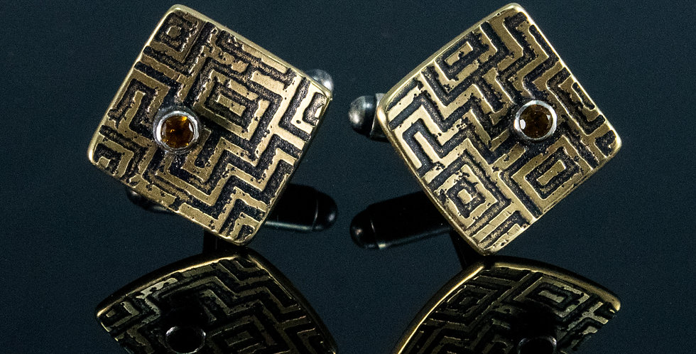Cuff Links Brass Maze Square with Stones