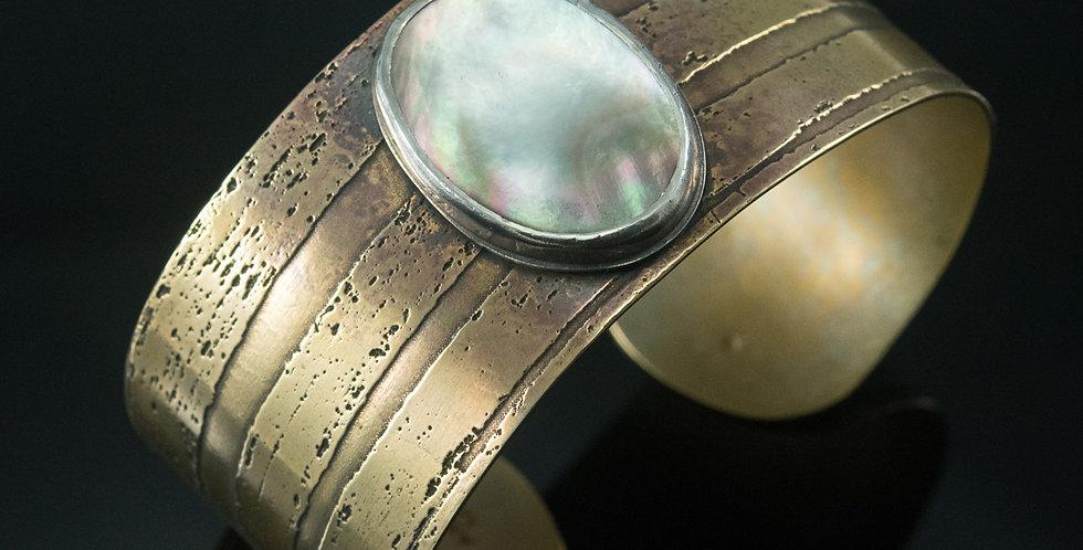 Mother of Pearl Brass Cuff Bracelet