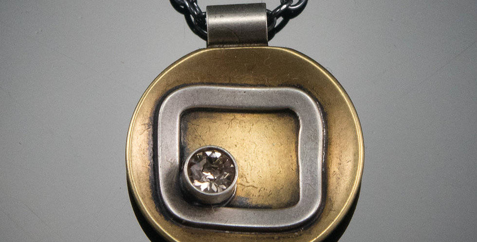 Crystal Corner Universe Pendant in Brass