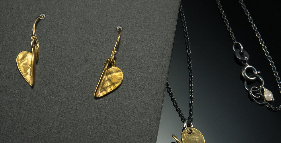 Brass Heart Dangle Earrings & Necklace