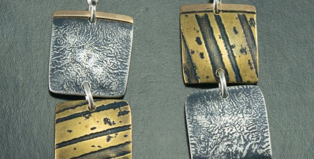 Harvest Tile Earrings in Silver, Brass & Gold