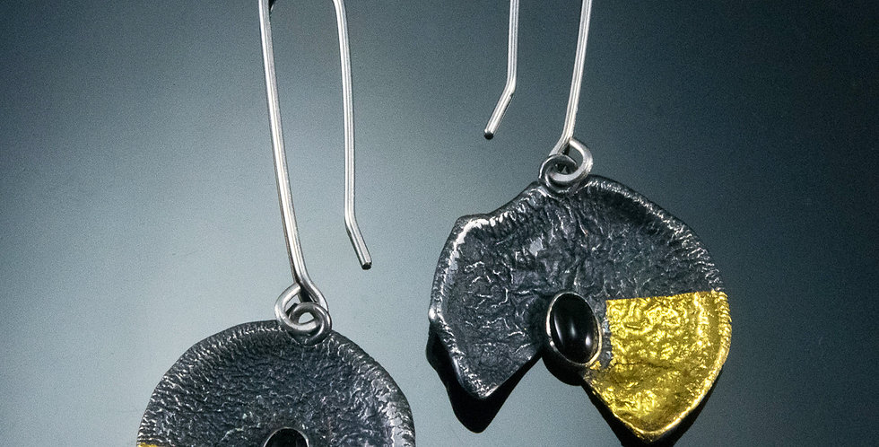 Small Lily Pad Drop Earrings with Black Onyx