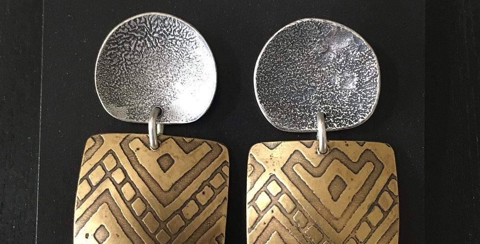 "Pile Up Earrings in Silver & Brass ""Aztec"" Texture"