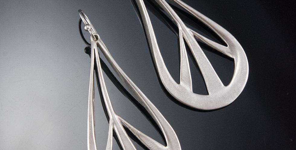 Teardrop Peace Earrings in Silver