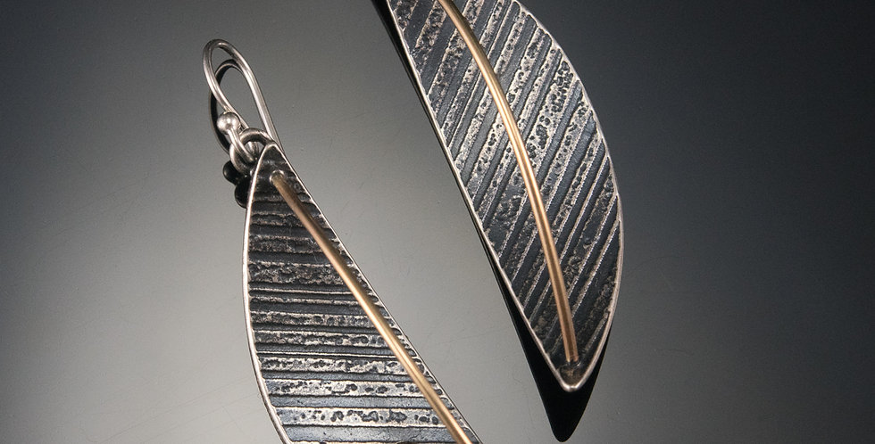 Dimensional Silver Arc Earrings with Gold Wire and Swarovski Crystals