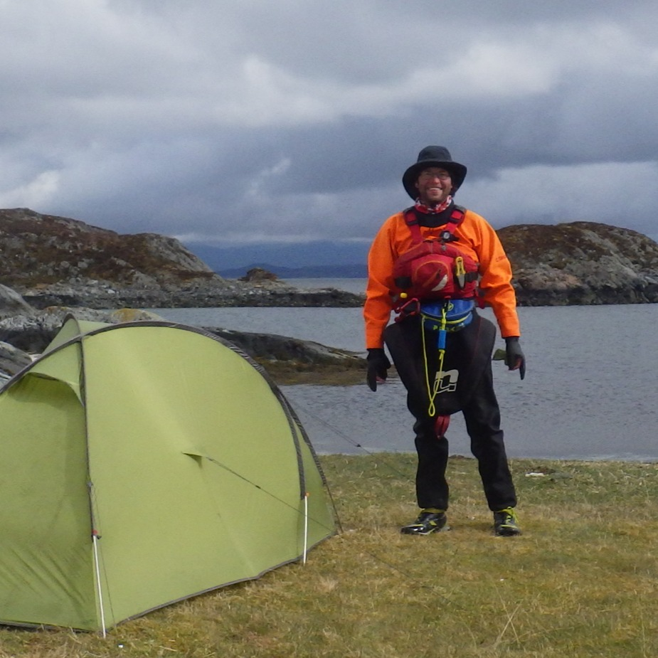 Callum and tent on Smøla