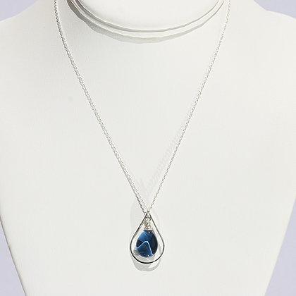 Mini Teardrop Necklace - Galaxy Blue