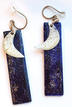 Crescent Moon Bar Dangle Earrings