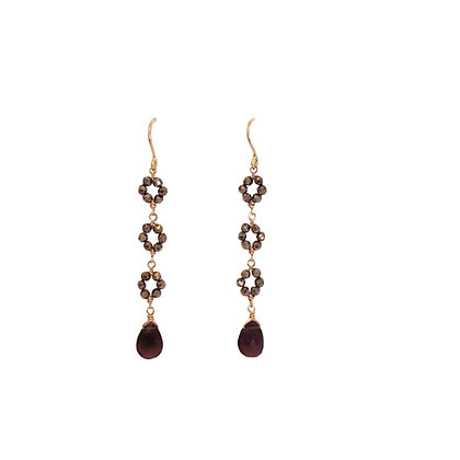 Rhodolite Garnet Fluerette Earrings