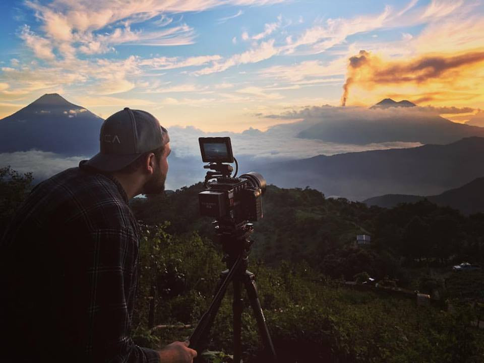 Filming Erupting Volcano Sunset with Red