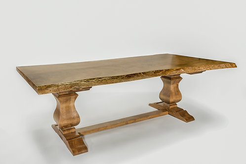 Sycamore Live Edge Dining Table with Trestle Base