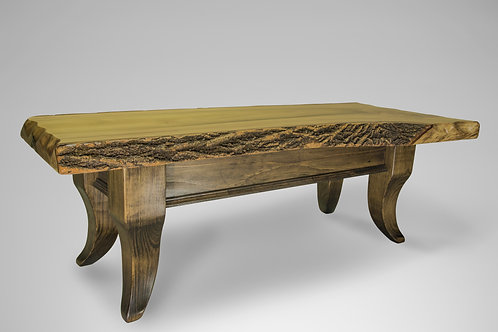 Poplar Live Edge Table with Scalloped Legs