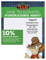 Dine to Donate Fundraising Night at Texas Roadhouse on March 25th, 2021