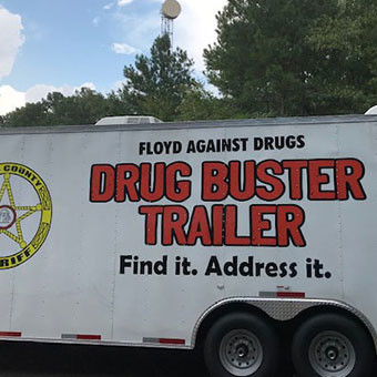 Floyd Against Drugs prepares to unveil Drug Buster trailer at jail on Thursday