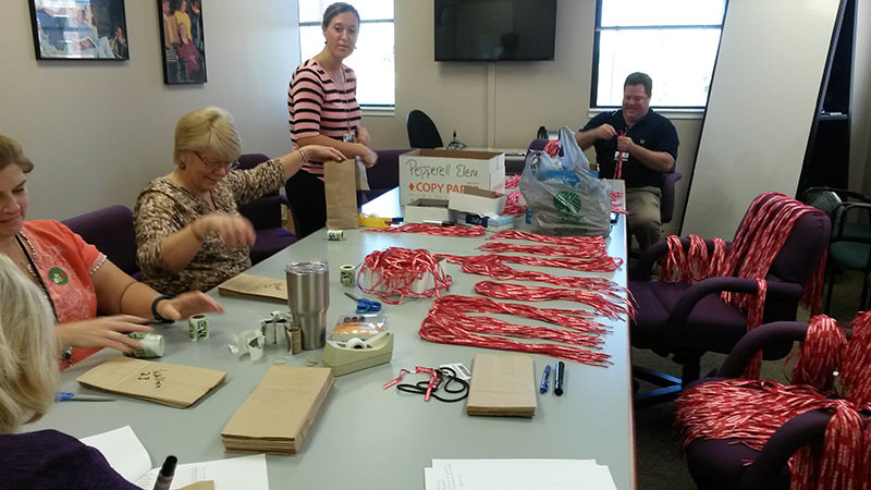 Red Ribbon Week bags packed and ready to go to local schools