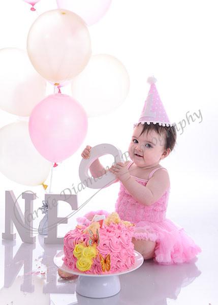girls lemon and pink 1st birthday smash cake sydney