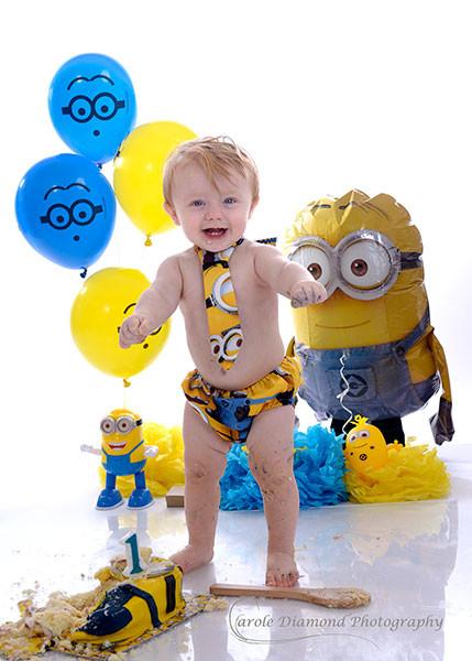 minion themed boys 1st birthday cake smash sydney