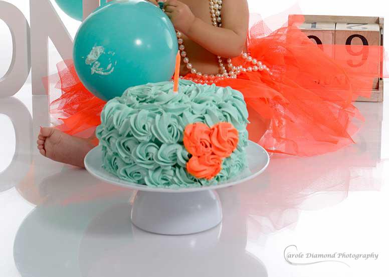 Orange and Teal theme cake smash sydney