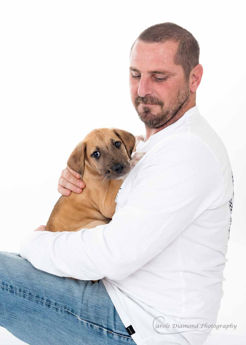 Man in white top holding 12 week old great dane x puppy by carole diamond photography in sydney