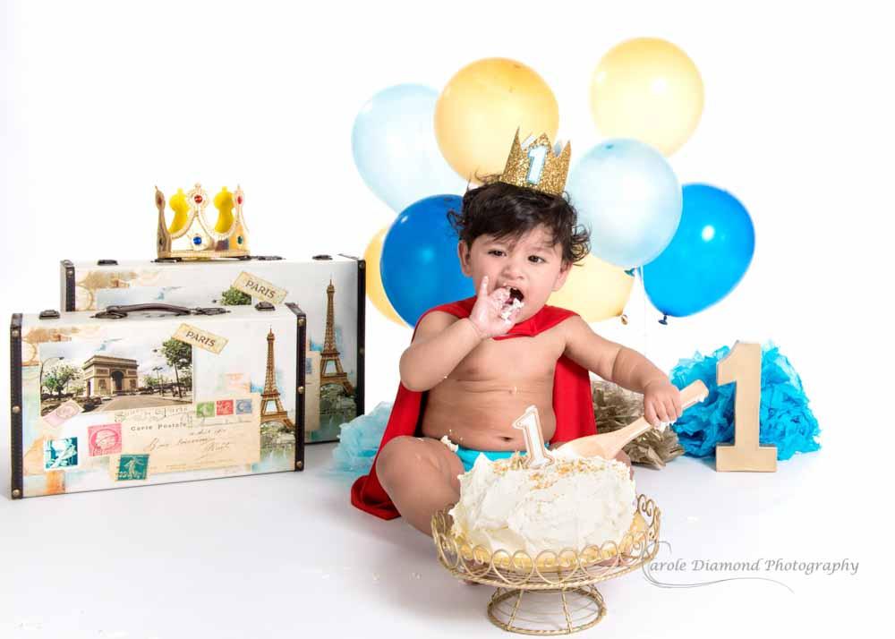 fun little prince cake smash photo sitting