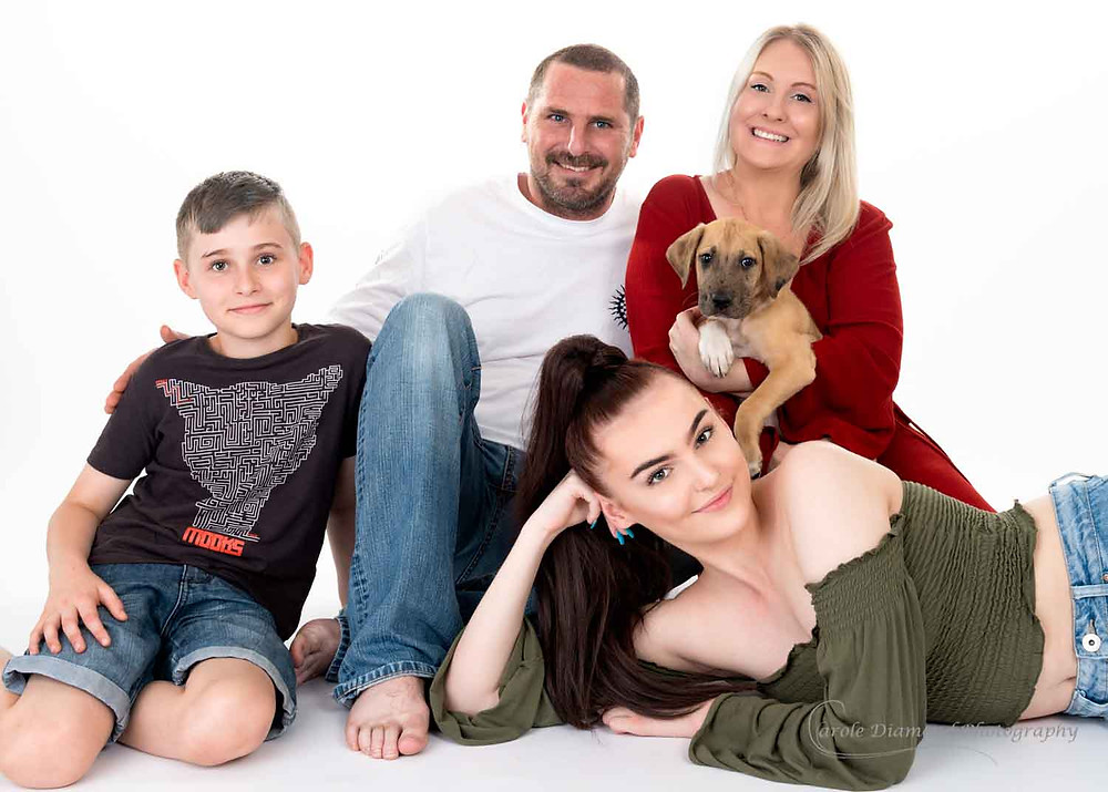 family of 4 mum, dad, teenage daughter and 10 year son with new 12 week great dane puppy family photo by sydney pet photographer carole diamond