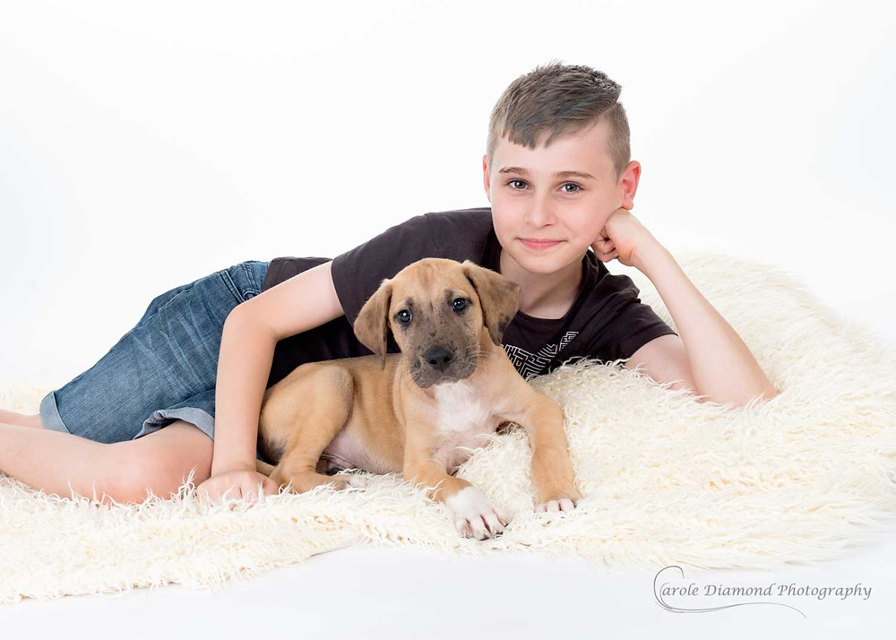 me and my dog 10 year old boy with 12 week old great puppy cute photo by pet photographer carole diamond photography