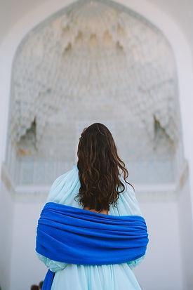 Blue cashmere wrap uzbekistan