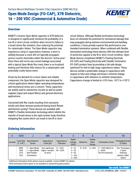 KEMET FO-CAP X7R MLC Capacitors