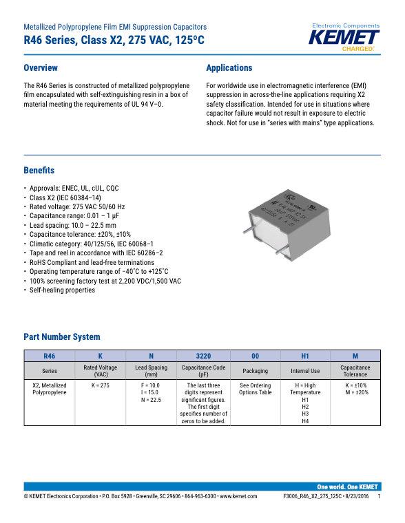 KEMET R46 125°C Series Plastic Film Capacitors