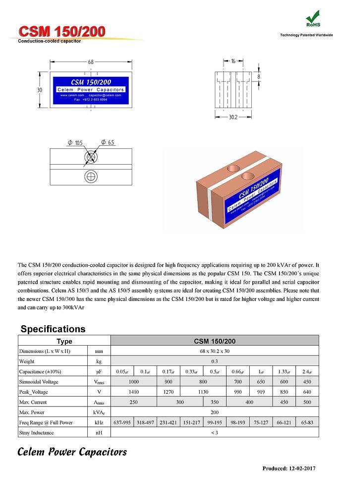 Celem CSM 150/200 Series Film Capacitors