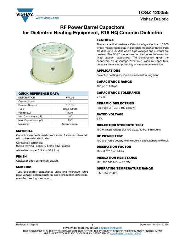 Vishay TOSZ 120055 Series RF Ceramic Capacitors
