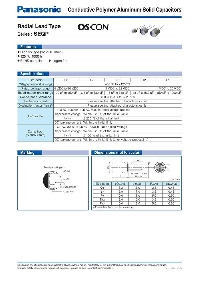 Panasonic SEQP Series Aluminum Capacitors