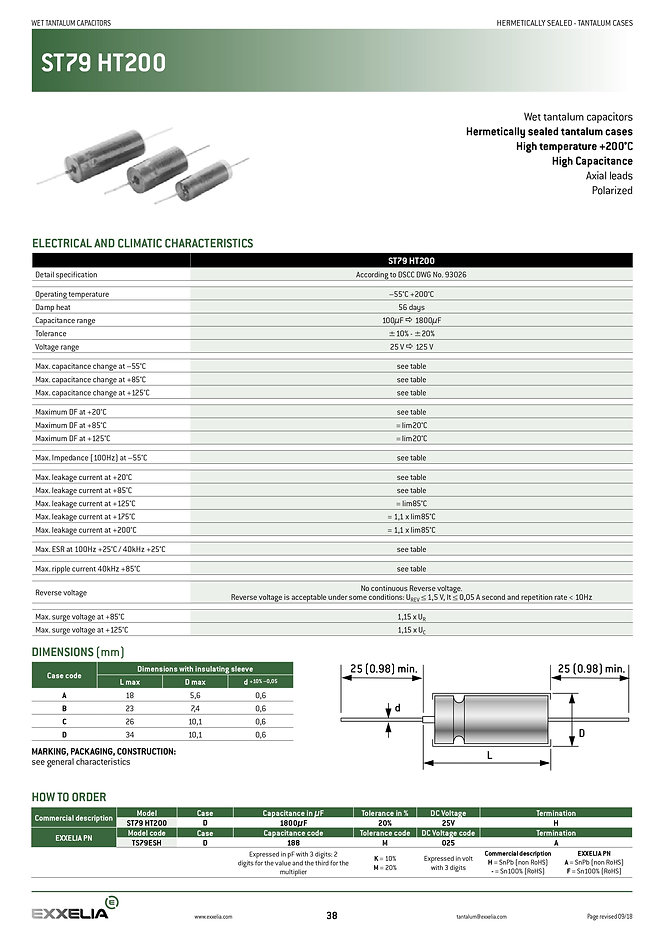 Exxelia ST79 HT200 Series Tantalum Capacitors