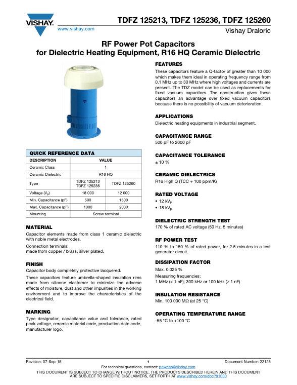 Vishay TDFZ 125... Series Water Cooled Ceramic Capacitors