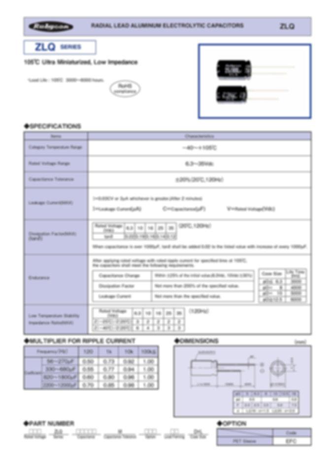 Rubycon ZLQ Series Aluminum Electrolytic Capacitors