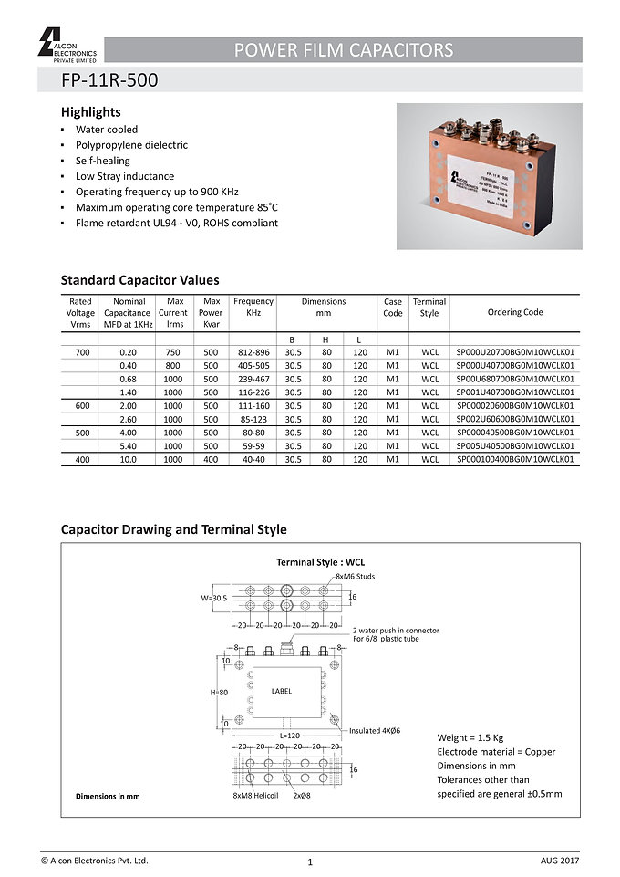 Alcon Electronics FP-11R-500 Series Film Capacitors