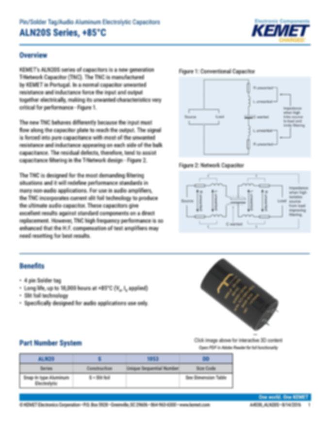KEMET ALN20S Series Aluminum Electrolytic Capacitors