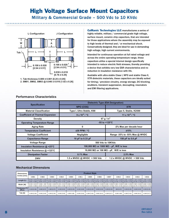 Calramic Commercial And Military Grade SMT High Voltage MLC Capacitors