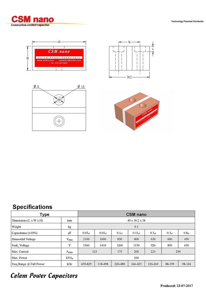 Celem CSM Nano Series Film Capacitors