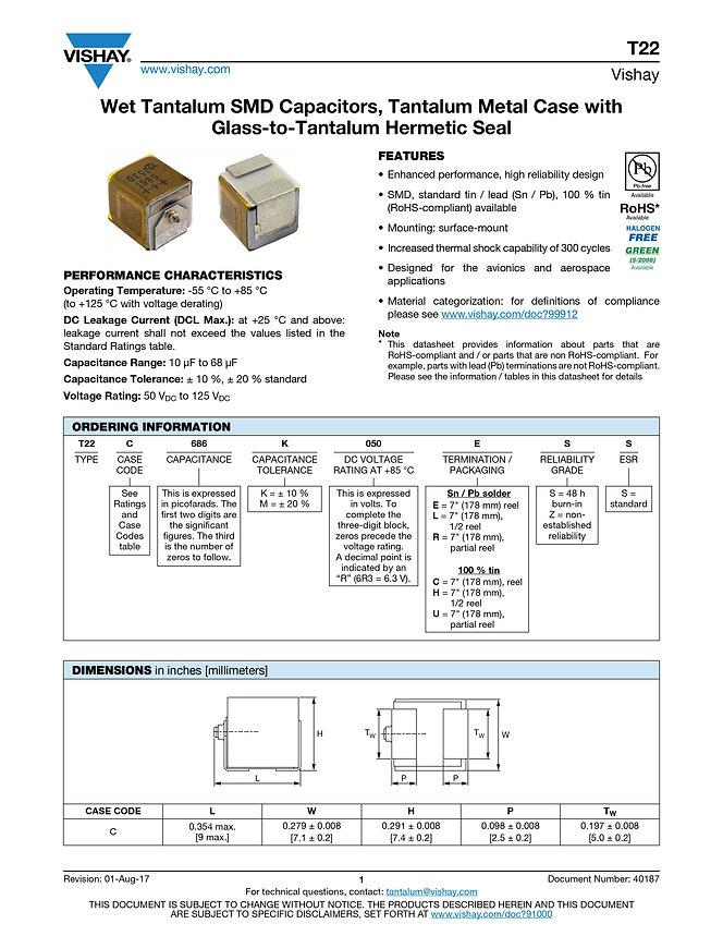 Vishay T22 Series Tantalum Capacitor