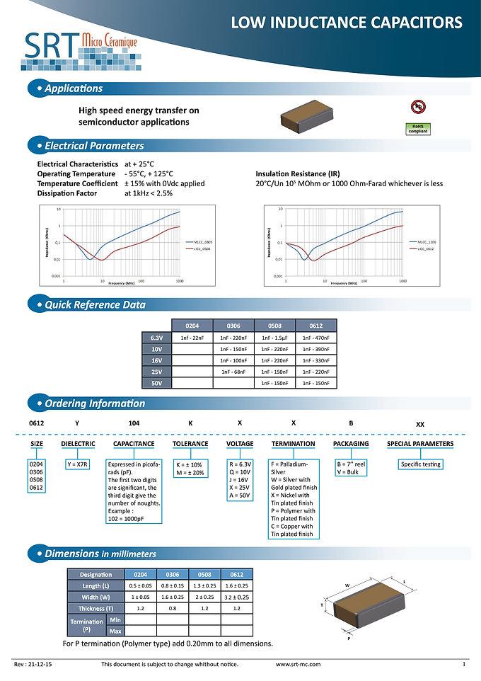 SRT Microceramique Low Inductance MLC Capacitors