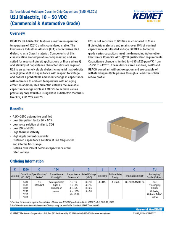 KEMET U2J Series MLC Capacitors