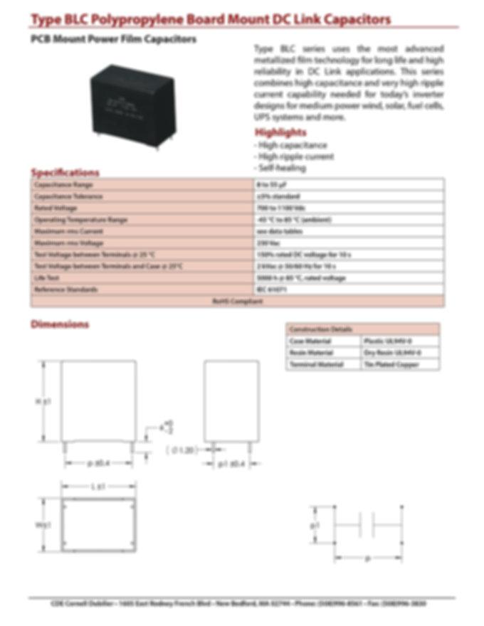 CDE Type BLC Plastic Film Capacitors