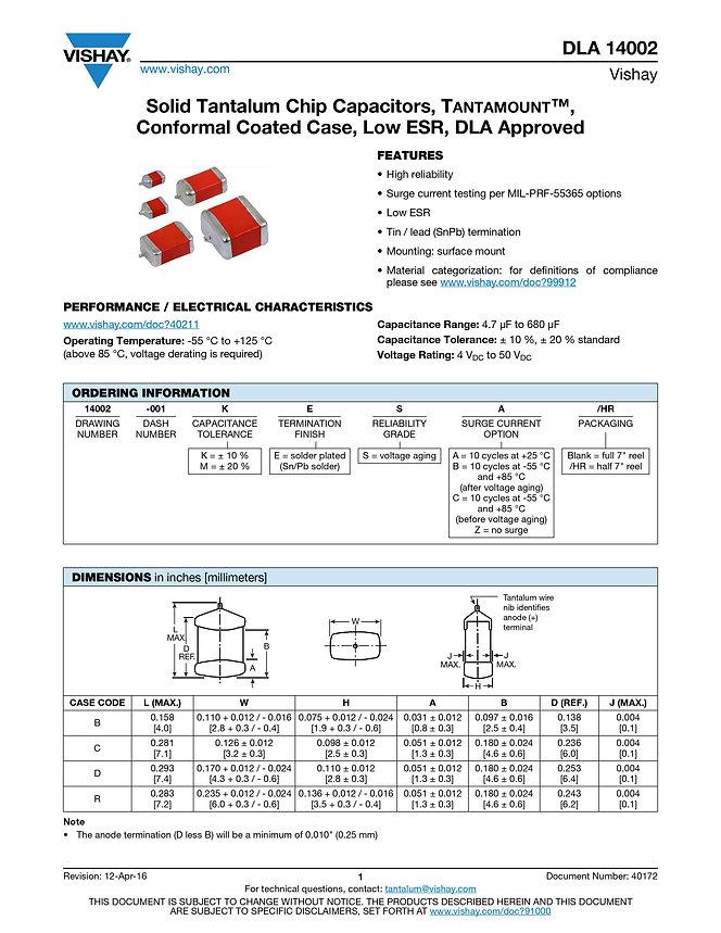 Vishay DLA 14002 Series Tantalum Capacitors