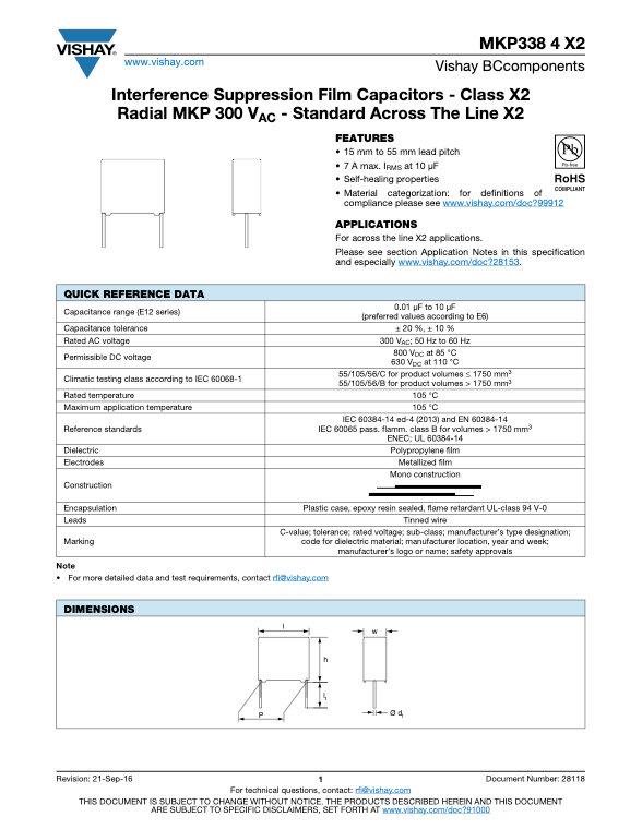 Vishay MKP338 4 X2 Series Plastic Film Capacitors