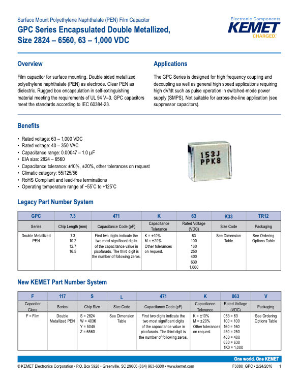 KEMET GPC Series Plastic Film Capacitors