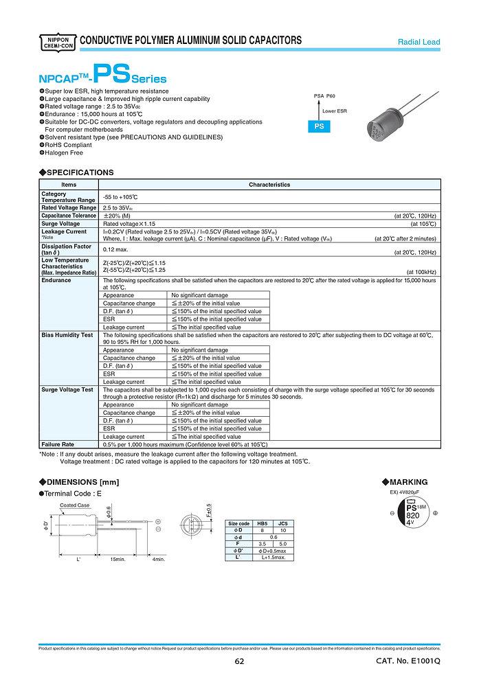 Nippon Chemi Con PS Series Aluminum Polymer Capacitors