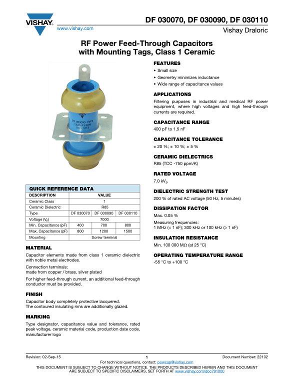 Vishay DF 0300... Series RF Ceramic Capacitors