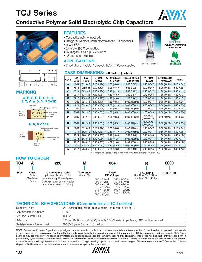 AVX TCJ Series Polymer Capacitors
