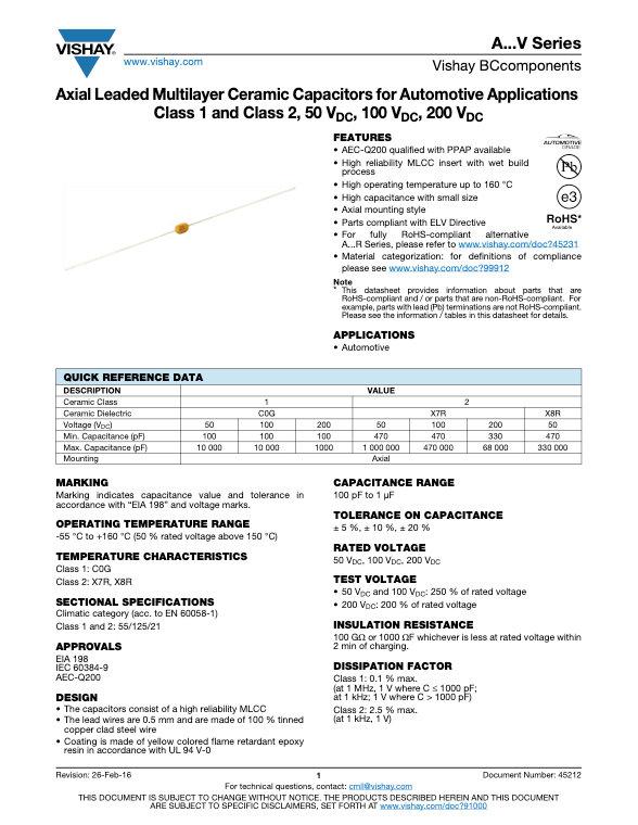 Vishay A...V Series MLC Capacitors